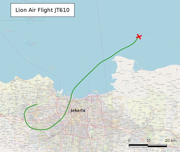 Lion Air - let JT610 - trasa letu