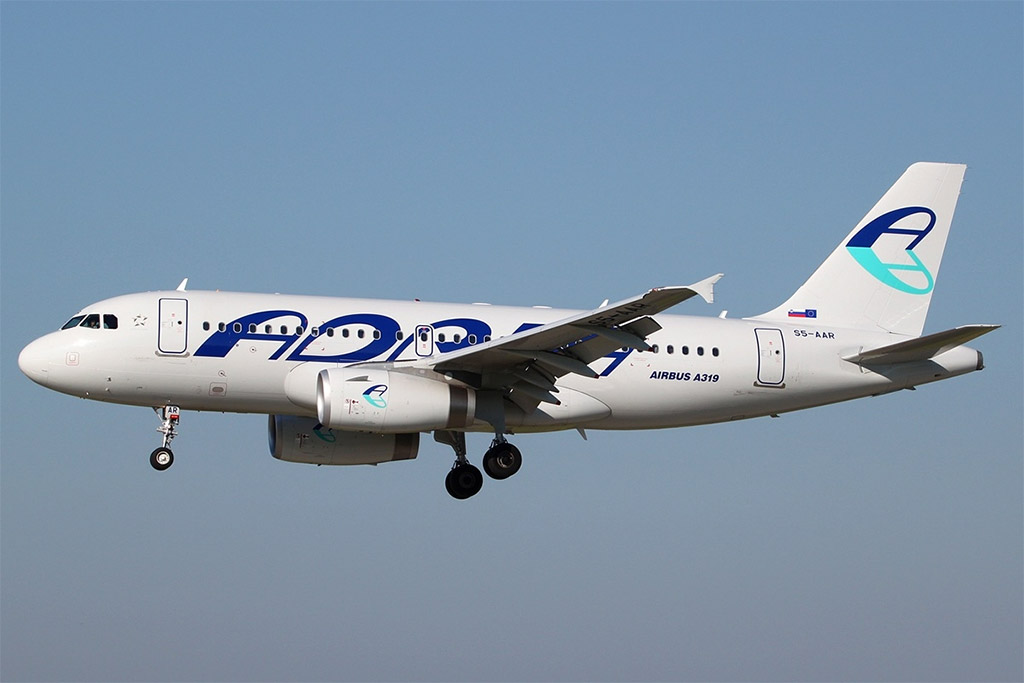 Adria Airways - Airbus A319 (foto: Peter Bakema/Wikimedia Commons - GFDL 1.2)